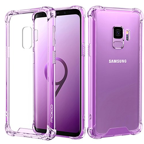Samsung Galaxy S9 Case, MoKo Crystal Clear Reinforced Corners TPU Bumper Cushion & Anti-Scratch Hybrid Rugged Transparent Panel Cover Samsung Galaxy S9 5.8 Inch 2018 - Purple