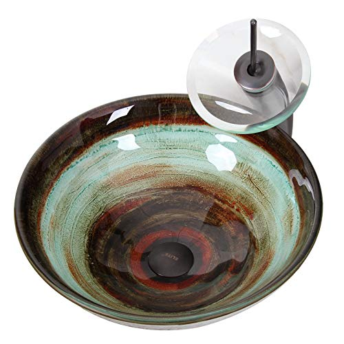 ELITE Space Tunnel Pattern Tempered Glass Bathroom Vessel Sink & Oil Rubbed Bronze Waterfall Faucet Combo