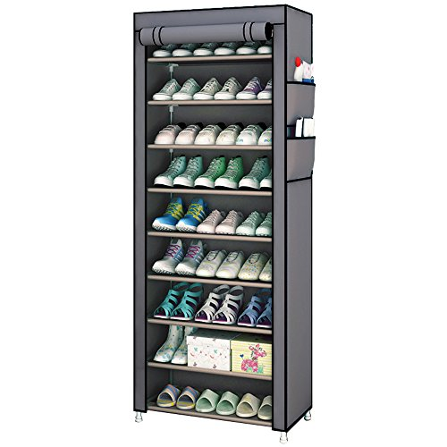 Aggice 10 Tiers Shoe Rack with dustproof Cover Dormitory Simple Collect Rac,Collect Colthes,Shoes,...