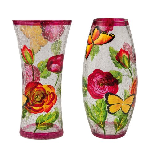 Hand Painted Crackle Glass - Cypress Home Botanical Hand-Painted Glass Vases