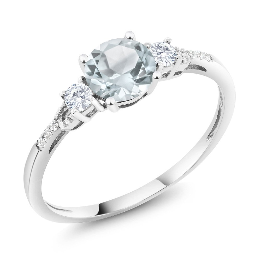 10K White Gold Diamond Accent Three-stone Engagement Ring set with Sky Blue Aquamarine White Created Sapphire (0.90 cttw, Available in size 5, 6, 7, 8, 9)