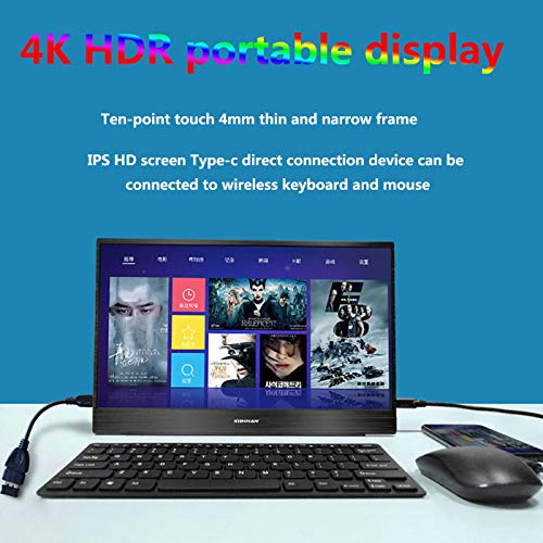 BBOOY HDR4K Portable Display IPS Screen Supports PS4PRO Switch Computer Expansion 1080P Suitable for Office Games,15.6 inch 4k Touch Battery