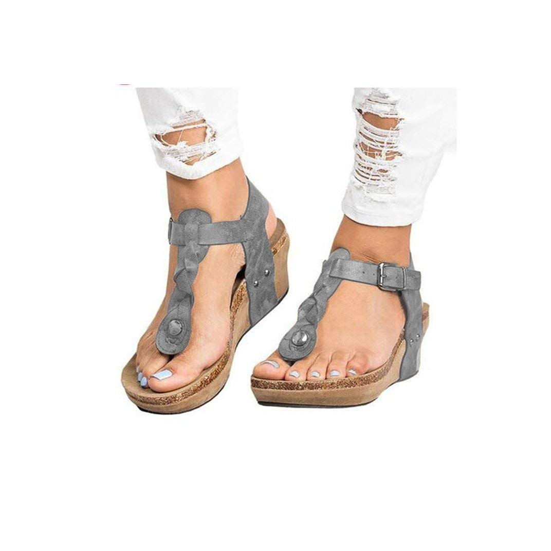 Women's Aditi Low Wedge Casual Flip Flops Wedges Open Toe Ankle Sandals Platforms Beach Shoes Roman Slippers Gray by NIKAIRALEY Shoes