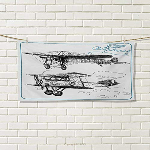 ,Hair Towel,Classic Nostalgic Planes Aircraft Propeller in The Sky Fast Travel Wings Sketch,Quick-Dry Towels,Blue Black Size: W 8