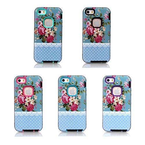 Coque iPhone 5/5s, Hard Case & 3 Lantier Rose romantique en 1 Armure hybride Etui Impact dur haute couvrir Style Cover Etui en silicone pour iPhone 5/5s Fleurs Bleu