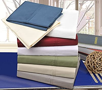 Impressions Percale 300 Thread Count 100-Percent Cotton Solid 4-Piece Sheet Set