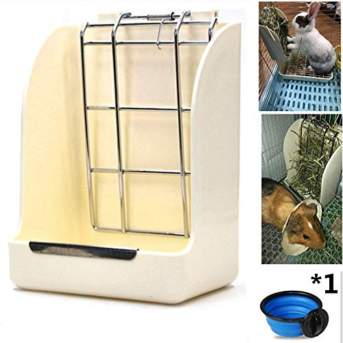 Lifestyle Hay Bunny Feeder,Grass Food Hay Feeder Manger Rack for Rabbit Guinea Pig Chinchilla,Plastic Bunny Hay Holder with 1 Pack Feed Bowl Free