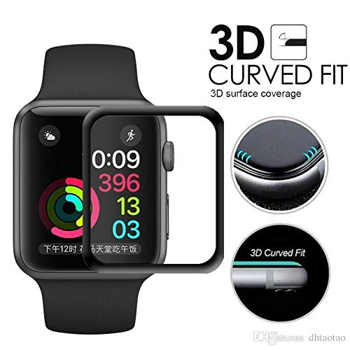 Apple Watch 4 (2018 Model) - 40mm 3D Full Cover Tempered Glass Screen Protector -Black - US Shipped