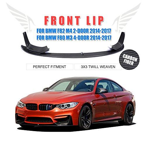 JCSPORTLINE Carbon Fiber Front Chin Spoiler Lip for BMW F80 M3 Sedan F82 F83 M4 Coupe Convertible 2014-2017 3PCS/Set