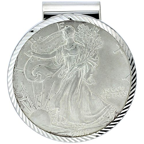 Sterling Silver Eagle Money Clip 1 oz Coin Included ()