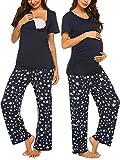 Ekouaer Women's Maternity Nursing Pajamas Cotton Print Sleepwear Set Soft Pregnancy Breastfeeding Hospital PJ Set (Navy Blue L)