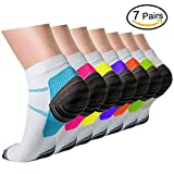 Plantar Fasciitis Support Compression Socks Women Men - 7 Pairs-Best Running Ankle Athletic Socks (Assort1, S/M)