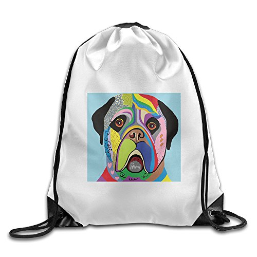 Unisex Colorful Angry Dog Sports Drawstring Backpack Bag