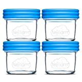 Nellam Baby Food Storage Containers - Leakproof, Airtight, Glass Jars for Freezing & Homemade Babyfood Prep - Reusable, BPA Free, 4 x 4oz Set, that is Microwave & Dishwasher Safe