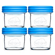 Nellam Baby Food Storage Containers - Leakproof, Airtight, Glass Jars for Freezing & Homemade Babyfood Prep - Reusable, BPA Free, 24 x 4oz Set, that is Microwave & Dishwasher Safe