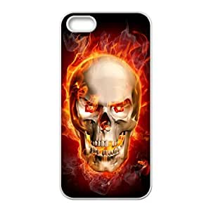 Iphone 5,5S Fire skulls Phone Back Case Art Print Design Hard Shell Protection YT066981