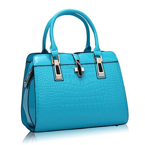 XZW NB Bolso Femenino De Cuero De Charol De Las Mujeres Bolso Femenino Casual De Messenger Bag Blue