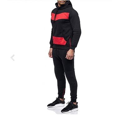 a7f1bb55b584 Mens Long Sleeve Camo Hoodies Sweatshirt + Tracksuit Long Pants 2Pcs Sets  with Pockets (XX