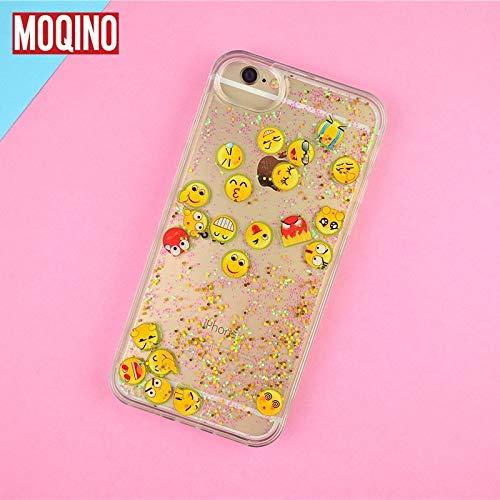 1 piece MOQINO For iPhone 8 8Plus 7 7plus 6 6s 6plus Case Emoticon Emoji APP icon Diamond Light Liquid Glitter QuickSand Phone Cover
