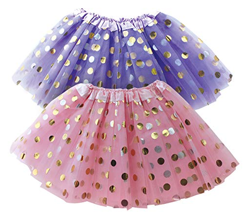 (Polka Dot Tutu Skirt for Toddler Girls/Tutu Set Pink Tulle Skirts & Purple Tutus Sets- Girl Dress Up Birthday Party, Halloween)
