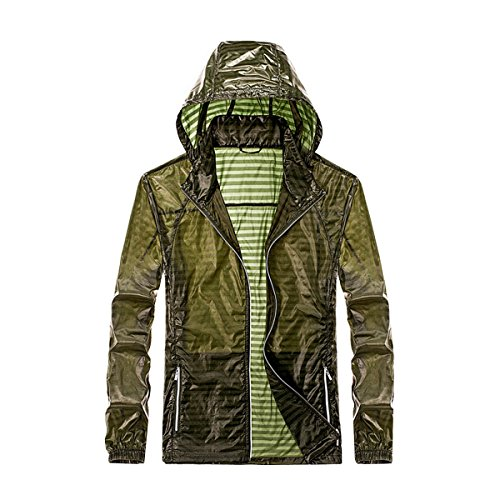 Granfee Men's Lightweight UV Protect Coat Skin Jacket Windproof Hooded Quick Dry Packable Jacket(chee0017Aymy Green-M)