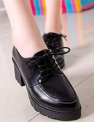 Décontracté us6 Noir Gros Njx Eu37 Rouge Uk4 Bout Chaussures Black 5 2016 7 Cn37 Arrondi Femme Rose Richelieu Similicuir 5 5 Talon CBBqpt