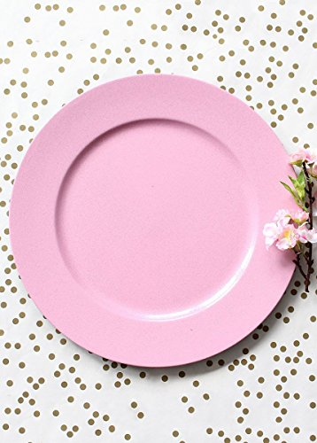 Round Glittered Light Pink Plastic Charger Plate12.75