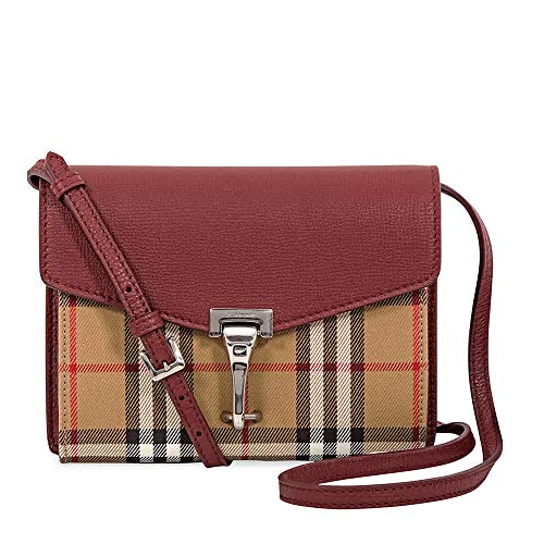 Burberry Macken Vintage Crimson Check Crossbody Derby Leather Baby Bag New