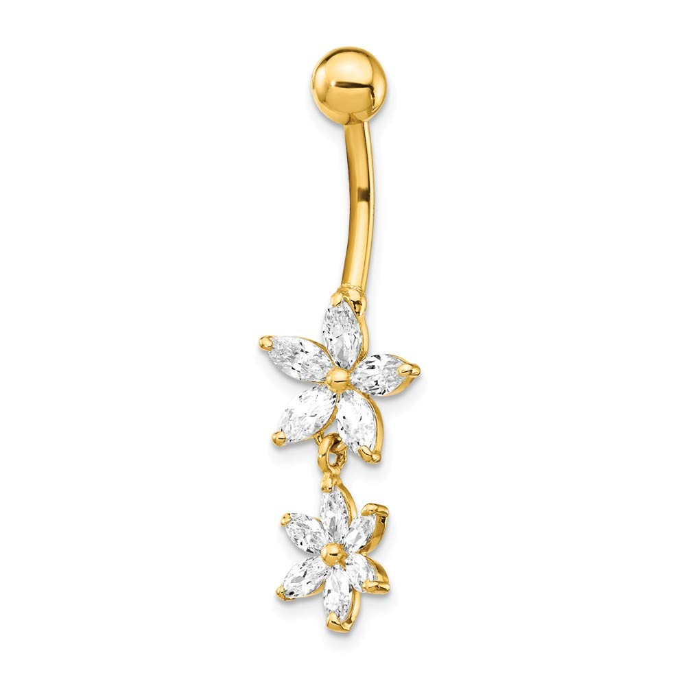 Mia Diamonds 14k Yellow Gold CZ 2-Flower Dangle Belly Button Ring