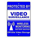 LOHIGHH Blue White Proctected by Video Surveillance Wireless Monitoring Battery Backup Off-Site Video Storage Warning Notice Aluminum Metal Tin 8' X 12' inch Sign Plate