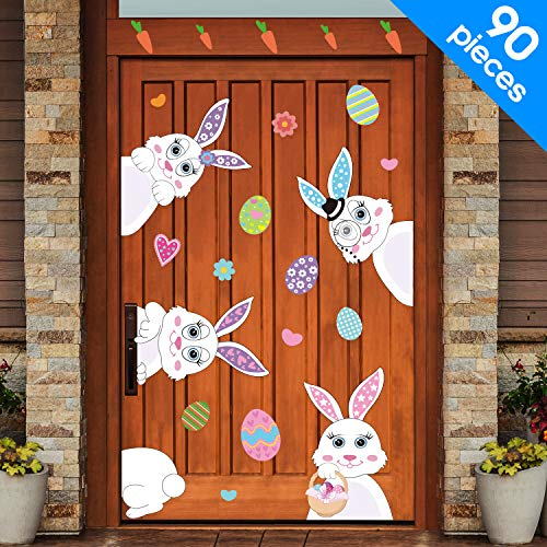 meekoo 90 Pieces Easter Decorations Easter Bunny Eggs Stickers Easter Window Stickers Bunny Decals Easter Door Floor Window Decor Home Party Ornaments