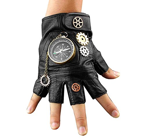 Steampunk Cosplay Compass Gears Fingerless Real Leather Gloves Men/womens