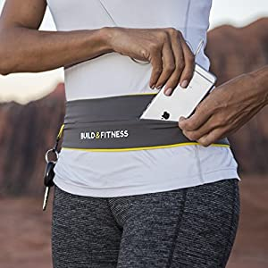 Running Belt, Fully Adjustable Fastener, Fitness Waist Belt, Key Clip. Fits iPhone 7 plus, Unisex, Suitable for Gym Workouts, Exercise, Cycling, Walking, Jogging, Sport, Travel, Outdoors