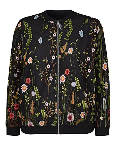 Embroidered Black coloured Bomber Simply Be Womens Multi WO7H7AEn