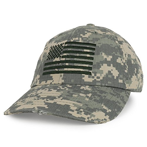 - Armycrew USA American Flag Embroidered Unstructured Camo Frayed Bill Baseball Cap - Digital Camo