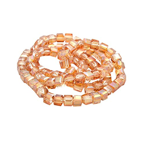 NBEADS 1 Strand Full Rainbow Plated Faceted Cube SandyBrown Spacer Glass Beads Strands with 4x4x4mm,Hole: 1mm,About 100pcs/strand ()