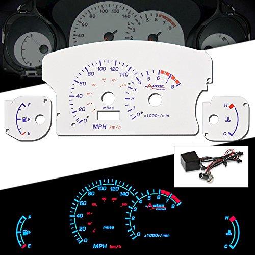 AUTO CONCEPTS REVERSE WHITE INDIGLO GLOW GAUGE - MITSUBISHI ECLIPSE 00-05 NONE TURBO MT 140/8 (Turbo Reverse Glow Gauges)