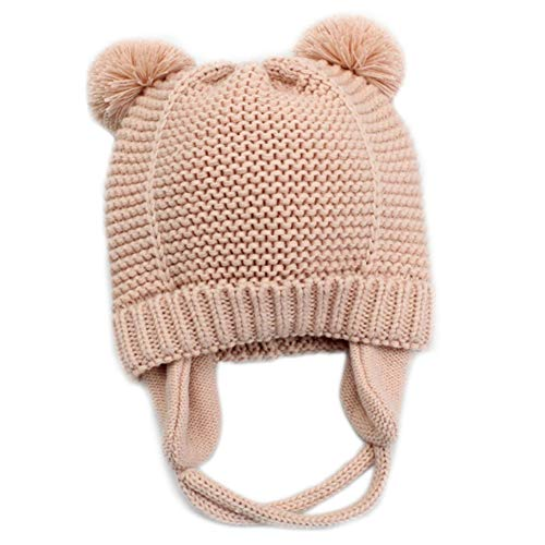 Baby Girls Beanie Earflaps Hat - Infant Toddler Soft Warm Knit Hat Kids Winter Hat with Fleece Lining (Pink,S)