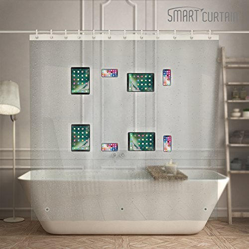 EVA Shower Curtain Liner with Waterproof 8 Clear Pockets Tablet iPad iPhone Phone Holder 72''x72'' Bathroom by Smart Curtain