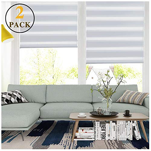 LUCKUP Horizontal Window Shade Blind Zebra Dual Roller Blinds Day and Night Blinds Curtains,Easy to Install 25.6″ x 59″ (2 Pack), White