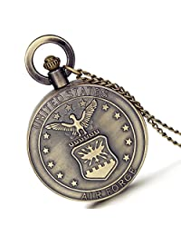 Lancardo Usaf United States Air Force Badge Logo Military Time 24 Hours Fob Pocket Watch With Chain