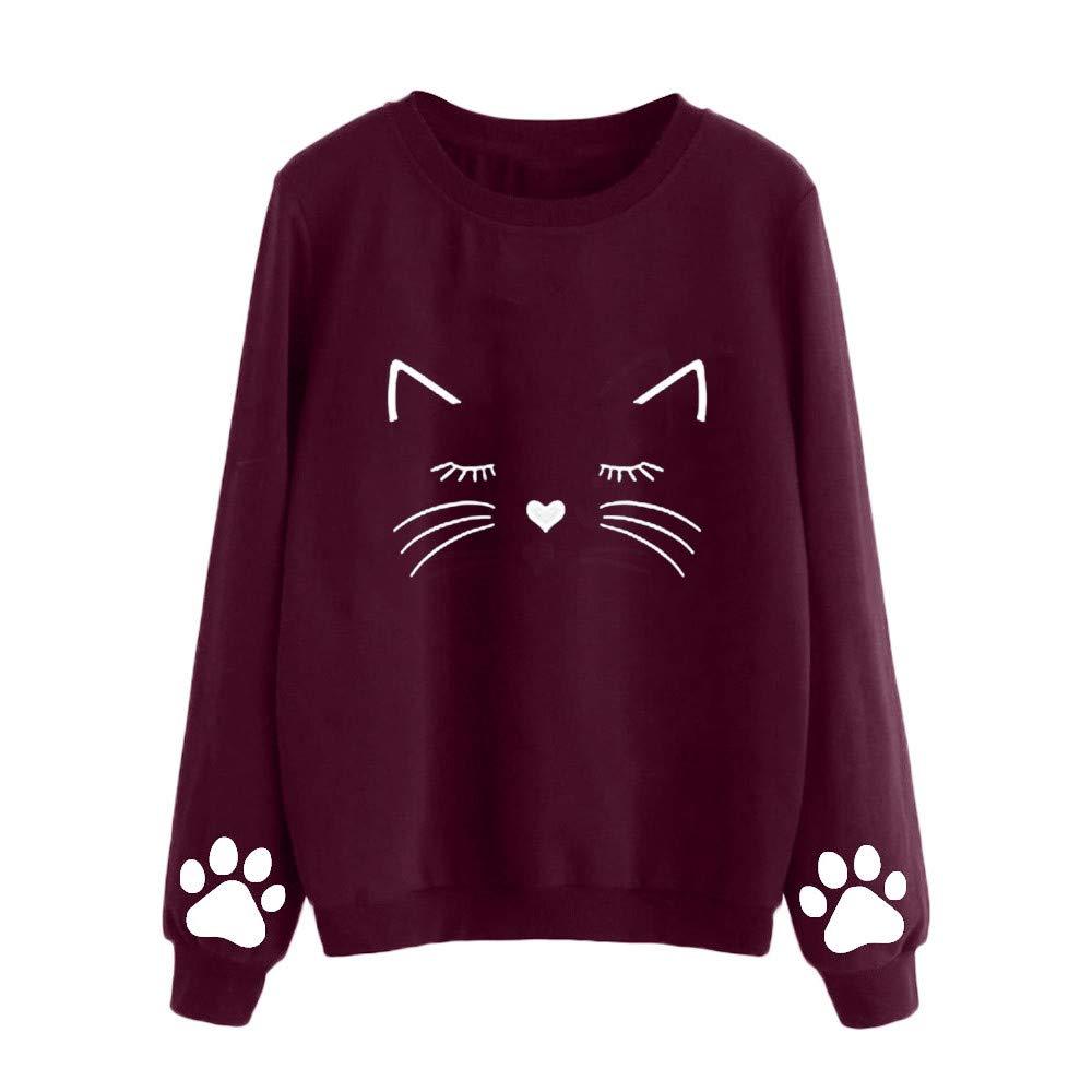 WUAI Womens Hooded Sweatshirts, Casual Fashion Slim Fit Tops Cat Printed Classic Athletic Blouse WUAI-womens jackets