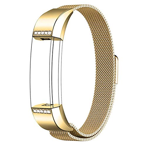 SWEES Metal Bands Compatible Fitbit Alta & Fitbit Alta HR, Milanese Stainless Steel Metal with Diamond Dressy Design Replacement Accessories Small for Women, Silver, Rose Pink, Champagne, Rose Gold