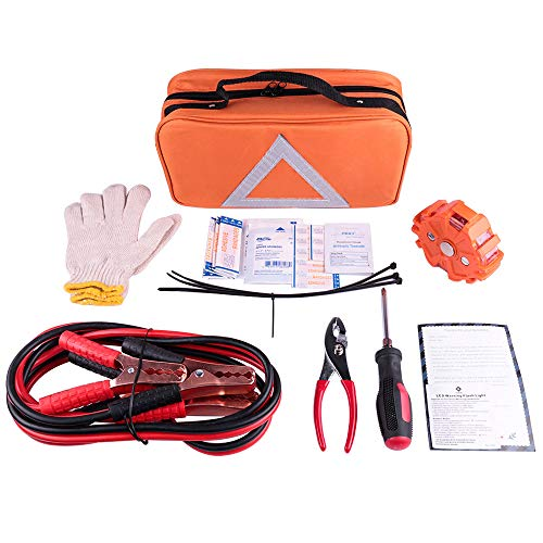 - NoOne Car Emergency kit, Multifunctional Roadside Assistance Emergency kit- First Aid Kit, Jumper Cables, Orange Strong Bag, Tools and More. Ideal Winter Emergency Kit for Your Car, Truck Or SUV
