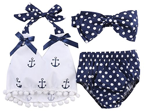 stylesilove Chic Infant Baby Girl Anchor Top with Polka Dots Bloomers Sunsuit Clothing Set (100/18-24 Months) - Dot Bloomer Set