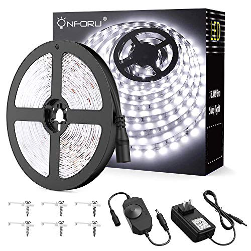 Onforu LED Vanity Mirror Lights Kit, 16.4ft / 5m Dimmable LED Strip Lights, 6000K Daylight White 300 LEDs Under Cabinet Lighting Strips, Non-Waterproof LED Tape, UL Listed Power Supply -