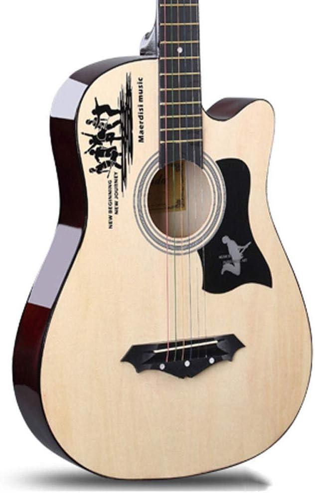 MSHK Guitarra Acústica 38 Pulgadas Cuerdas Afinadores Guitarra Folk Guitarra Clásica con Cuerdas De Acero Paquete De Guitarra Acústica Natural,2