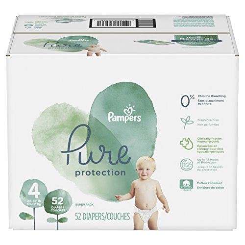 Pampers Pure Protection Disposable Diapers, Size 4, 52 Count