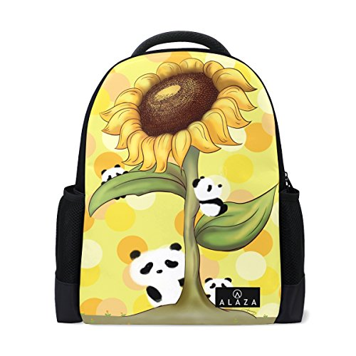 ALAZA College Backpack Cute Panda Sunflower Laptop Bookbags Travel Bag for Men Women
