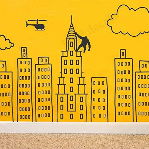 (Wallency Doodled City Skyline Removable Wall Decal)